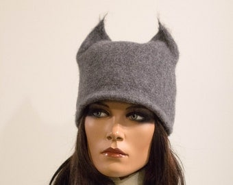 Felted cat hat black Unique Felt hats millinery felt with ears Handmade panther Regina Doseth handmade in EU fox