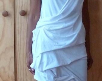 White cotton  faux wrap dress,sleeveless white cotton spandex dress,handmade to order by Cheryl Johnston