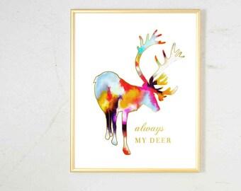 Deer Art Print, Woodland Nursery Art, Animal Nursery Art, Watercolor Animal Print, Girls Nursery Decor, Deer Antler Art,  Gold Nursery Decor