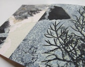 Small original hand printed botanical mini print ACEO Dusky duck egg blue Little pieces of nature captured in print by Stef Mitchell