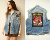 Vintage Gun N Roses & ZZ Top Patched Studded Cut Off Denim Levis Vest Waistcoat
