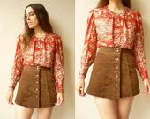 1970's Vintage Semi Sheer Shirt Blouse With Glittery Metallic Threads