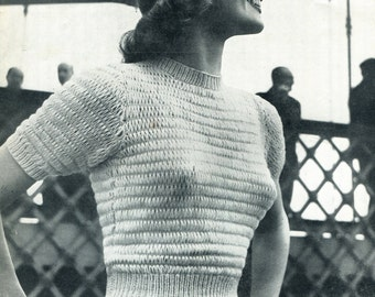 """Ladies Round Neck 1950s Odd Pin Jumper 2 Sizes 34"""" and 36"""" Bust Jaeger 3211 Vintage Knitting Pattern"""