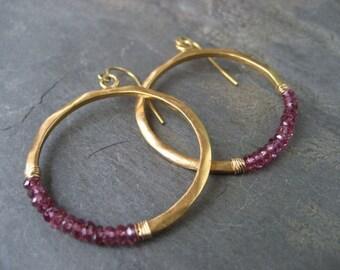 Garnet hoops, rhodolite garnet, circle earrings, beaded hoops, circle dangle, gold hoops, wire wrapped hoops, handmade