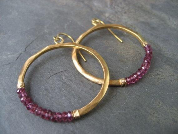 Rhodolite garnet rondelle hoop earrings