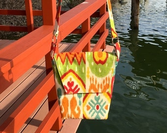 Rebecca 1605E  Bright and Fun Designer Cotton Purse, Up Cycled, One of a Kind