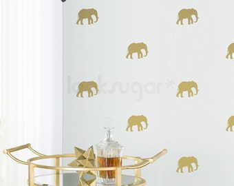 Gold Elephant Wall Decal with Wallpaper Effect - LSWP-AP0061NF