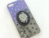 Gothic rose deco phone case, black purple spooky gothic phone case, rose cameo phone case