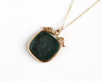 Antique 14k Gold Filled Bloodstone Cameo Intaglio Necklace - Vintage Edwardian Green Red Gem Fob Pendant Roman Warrior Man Intaglio Jewelry