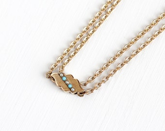 Sale - Antique Rosy Yellow Gold Filled Seed Pearl Simulated Turquoise Slide Charm Necklace - Victorian Fob Pocket Watch Chain Layer Jewelry