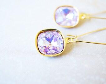 Earrings, Violet Earrings, Crystal Earrings, Gold Earrings, Long Earrings, Dangle Earrings, Drop Earrings, Handmade Earrings, Gift for Her