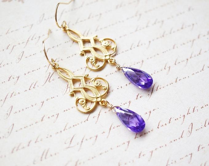 Featured listing image: SALE - Earrings, Gold Earrings, Purple Earrings, Chandelier Earrings, Lavender Earrings, Cubic Zirconia, Dangle Earrings, Drop Earrings