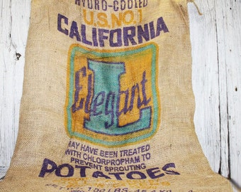 Elegant L Potato Sack, Burlap Bag, Gunny Sack, Gunnie Sack, California, Vintage