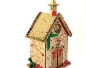 Christmas Birdhouse Church Nativity Holiday Centerpiece Decorated Decoupaged Crystal Embellished Religious Christmas Bird House