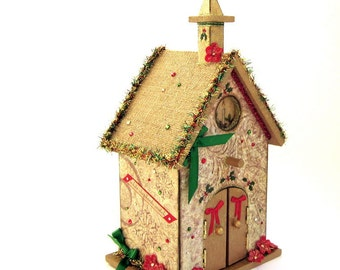 Christmas Birdhouse Church Nativity Holiday Centerpiece Decorated Decoupaged Crystal Embellished Religious Christmas Bird House
