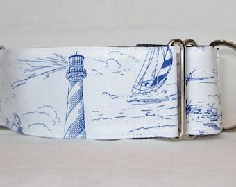 Beach Toile Martingale Dog Collar - 1.5 or 2 Inch - scenic sailboat ocean umbrella lighthouse white blue seashell