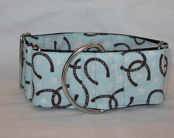 SALE Lucky Horseshoe Martingale Dog Collar - 1.5 or 2 Inch - blue brown cream horse cowboy cowgirl fun rodeo