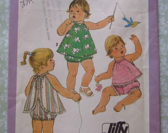 Easy to Sew Toddler Girls Sundress or Top and Panties Size 2 Vintage 1970's UNCUT Simplicity Pattern 8538