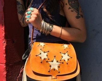 Handmade Leather Star Studded Bag