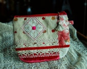 Handmade  Zipper Pouch, Linen, Velvet, Vintage Lace Trims and Button, Lined, Beaded Zipper Pull with Tassel