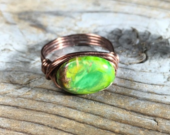 size 8 3/4 , 8.75 - Green Imperial Jasper stone antique copper wire wrapped ring - lime gemstone jewelry women men rustic metaphysical wrap