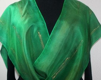 Green Hand Painted Silk Scarf MOUNTAIN MEADOWS. Size 11x60. Silk Scarves Colorado. Elegant Handmade Gift.
