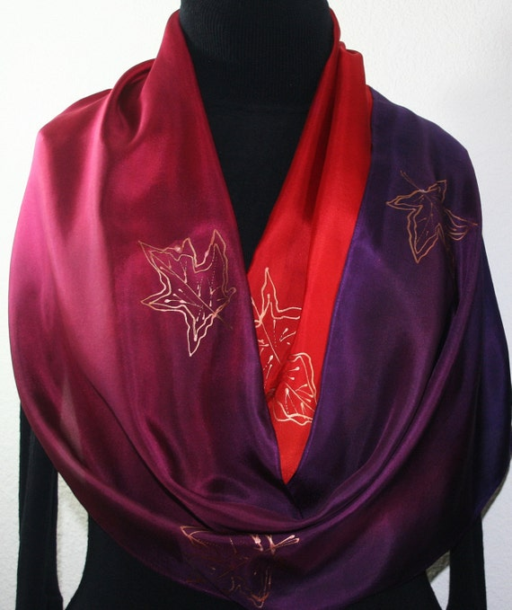 Purple, Burgundy, Red Silk Scarf SUNSET HUG. Hand Painted by Silk Scarves Colorado.  LARGE 14x72. Mother Gift, Christmas Gift.