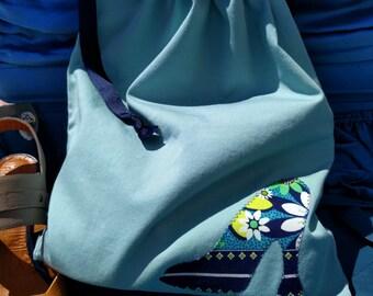 Women's Floral Print Applique Travel Shoe Bag Aqua