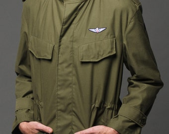 1980's Authentic MILITARY STYLE VINTAGE Belgian Army Green Band Collar Jacket / Parka by Top Rank Vintage ( Un-issued)