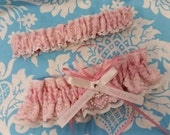 peony pink and white Wedding Garter set , beautiful personalized soft pink satin and Ivory or white Lace with heart personalised name garter