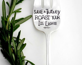 Save a Turkey Roast Your In-Laws™ Tofurkey Serving Fork. Vegan. ORIGINAL Design by Sycamore Hill, Hand Stamped Vintage Silverware Since 2010