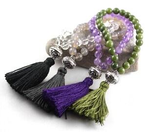 Mala Bracelet, Wrist Mala, Tassel Bracelet, Stretch Bracelet, Quartz Mala, Amethyst Mala, Jade Mala, Wedding Jewelry, Yoga Je