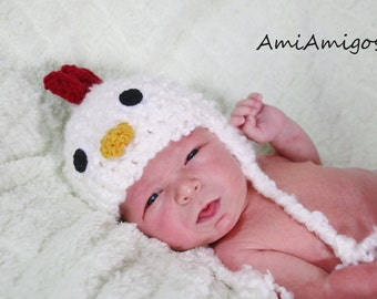 Crochet Cute Chicken Hat (Newborn)