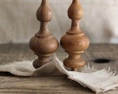 vintage carved wood finials, salvaged wood finials, miniature wood finials