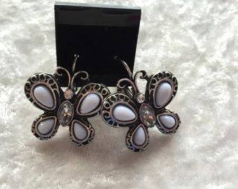 Butterfly Earrings, Leverback Earrings, Silver Earrings, Bold Earrings, Silver Butterfly Earrings, Dangle Earrings, Butterfly Jewelry