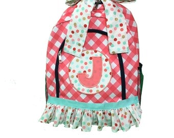 Girl's Backpack; Full Size; Ruffled Backpack; Embroidered Backpack