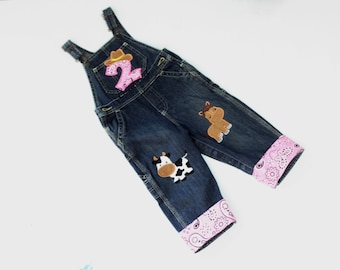 Cowgirl Birthday Overalls