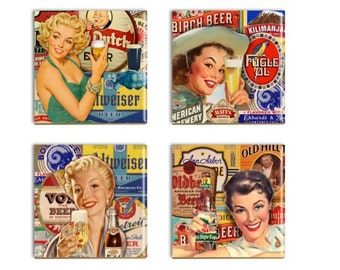 Retro Beer Ad Coasters Retro Women Vintage Beer Ceramic Tile Drink Coasters 0ld Beer Ad Barware
