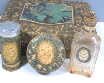 Antique DJer Kiss Perfume, Talcum, Face Powder, Original Box, Kirkoff Paris, Vanity Set, 1920s, RARE