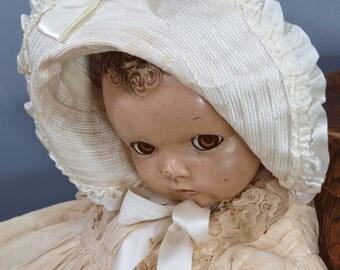 Vintage Ivory Baby Bonnet, Christening, Baptism, Doll Costume, Silk Berry Buds, Photo Prop, Child Room, Shop Decor