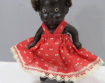 Black Americana Bisque Doll - Vintage Jointed Baby Girl - Made In Japan