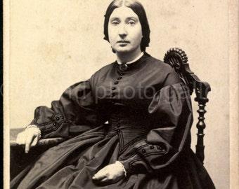 Miniature Photo, Cabinet Photo, Woman , Vintage Photo, Black and White Photo, Oval Photo,  Found Photo, Antique Photo  augustine0005