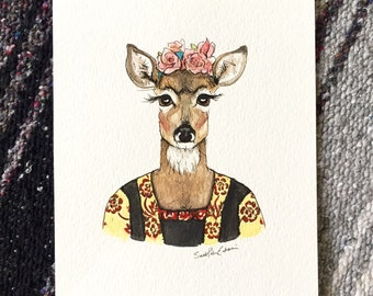 Original Watercolor Frida Kahlo Doe