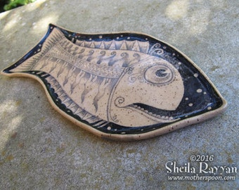 Fish Plate - REDUCED PRICE ceramic handmade, sushi dish