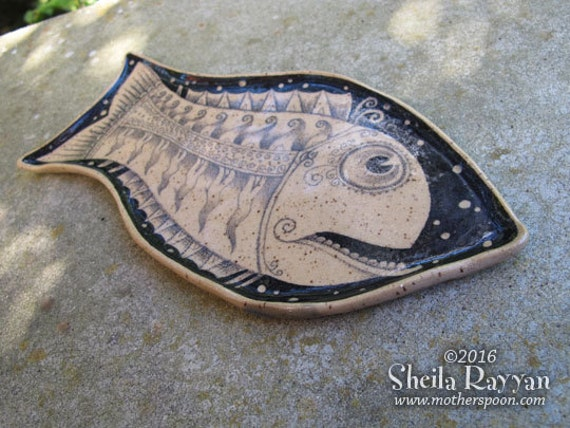 Fish Plate - REDUCED PRICE ceramic handmade, sushi dish