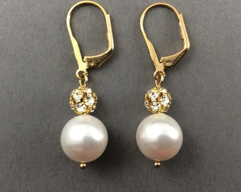 Gold Pearl Earrings Bridesmaids Gifts In Crystal Gold Rhinestone Balls And Cream Swarovski Pearls