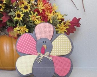 Wooden Chunky Turkey, Thanksgiving Decor, Thanksgiving Decoration, Turkey