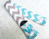 Embroidered Reversible Camera Strap Cover with Lens Cap Pocket and Monogram - Photographer Gift - Riley Blake Aqua and Gray Chevron