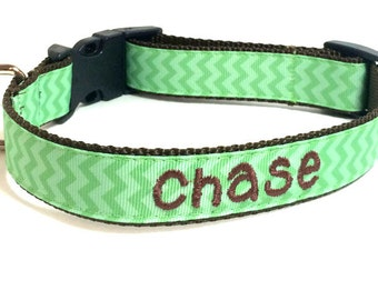 Personalized Dog Collar - Green Chevron Personalized Dog Collar