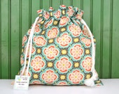 Drawstring Bag, Pouch, Tote for Toys, Gifts, Crafting, Lunch, Cosmetics, Project, Travel, Storage in Peach Aqua Floral Medallion